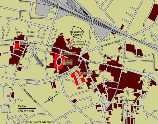 Map Of Uk Exeter.Exeter Memories The Story Of The Exeter Blitz May 1942
